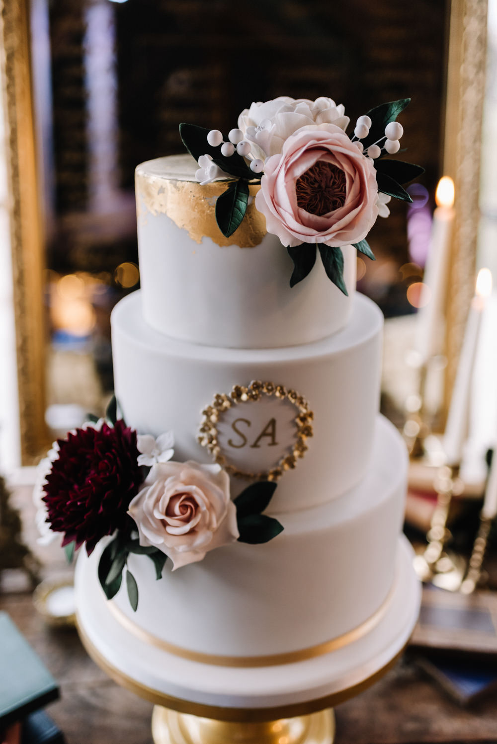Cake Floral Flowers Pink Blush Burgundy Letters Initials Dewsall Court Wedding Oobaloos Photography
