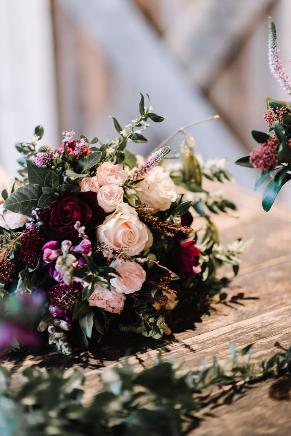 Bouquet Flowers Bride Bridal Burgundy Greenery Foliage Blush Rose Dewsall Court Wedding Oobaloos Photography