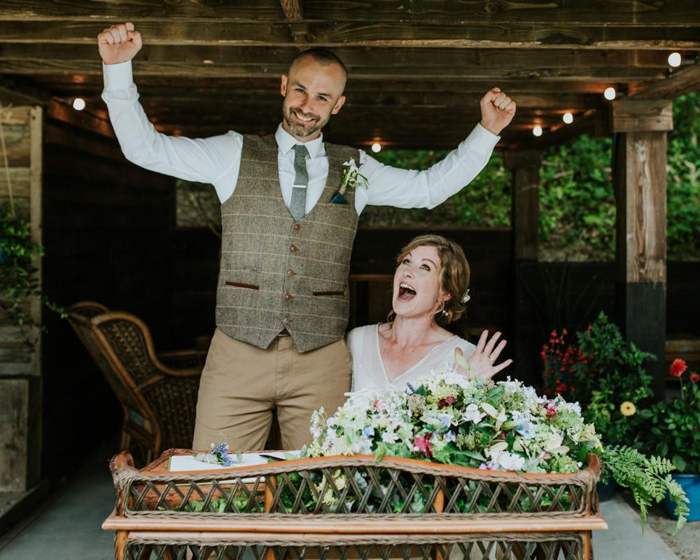Bride Bridal Vintage Dress V Neck Sleeves Layered Waistcoat Tweed Groom Chinos Registry Table Florals Edwardian Inspired Wedding Daniel Ackerley Photography