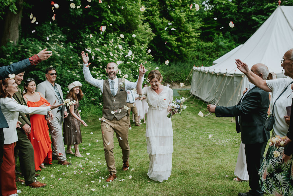 Bride Bridal Vintage Dress V Neck Sleeves Layered Waistcoat Tweed Groom Chinos Confetti Edwardian Inspired Wedding Daniel Ackerley Photography