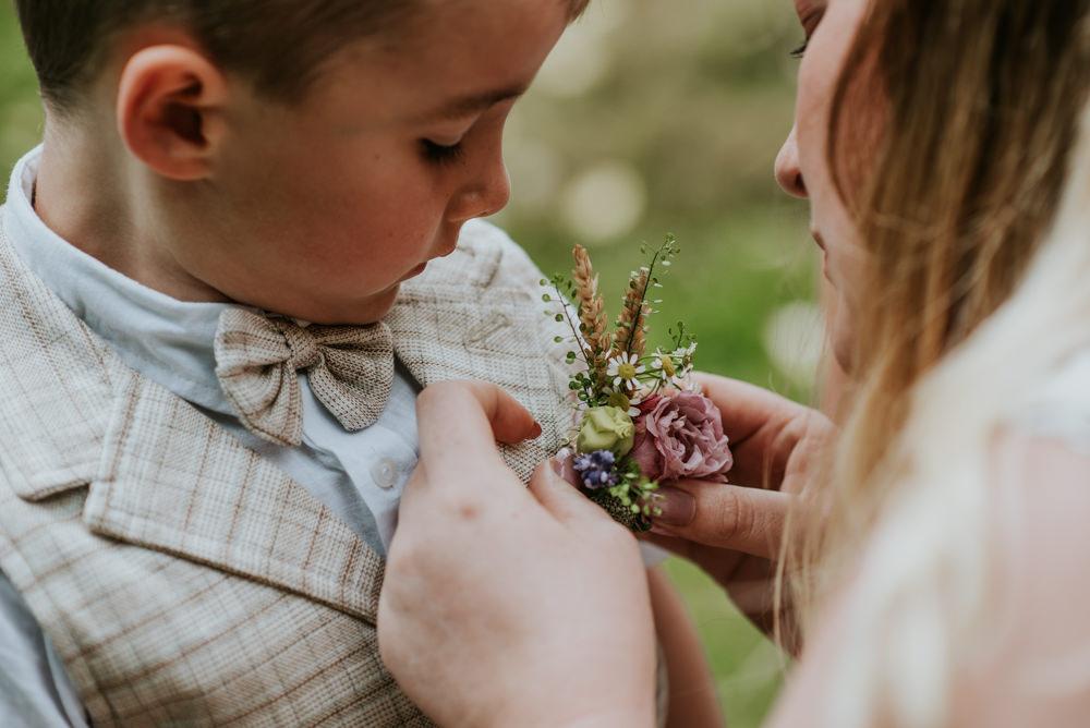 Page Boy Checked Bow Tie Waistcoat Wildflower Buttonhole Edwardian Inspired Wedding Daniel Ackerley Photography