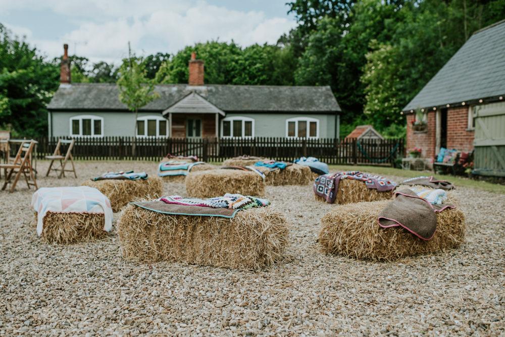 Hay Bale Seating Blankets Edwardian Inspired Wedding Daniel Ackerley Photography