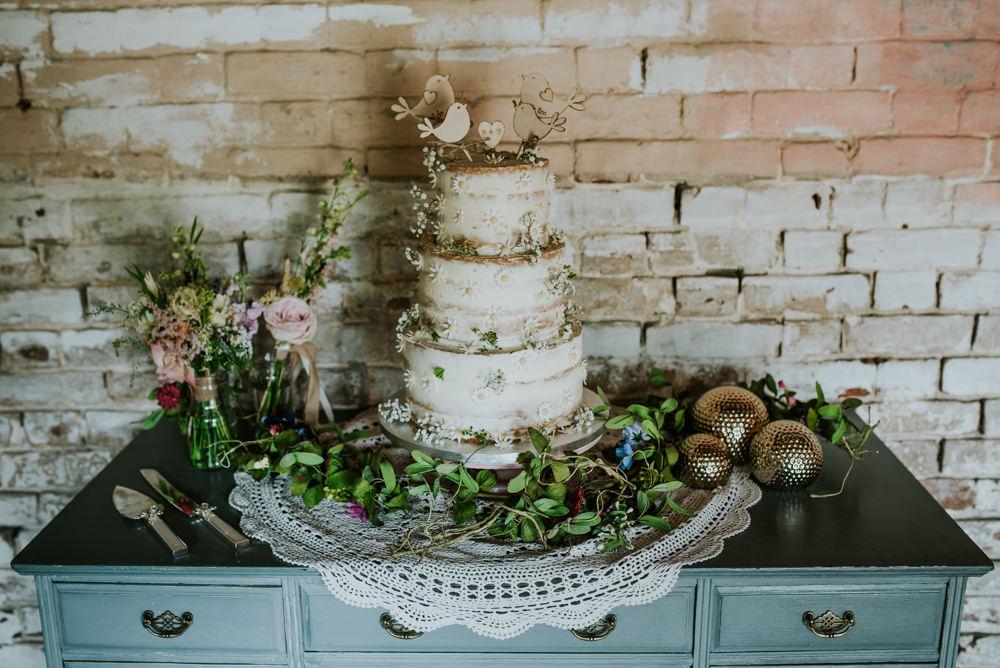 Buttercream Cake Wildflower Bird Wooden Cake Topper Edwardian Inspired Wedding Daniel Ackerley Photography