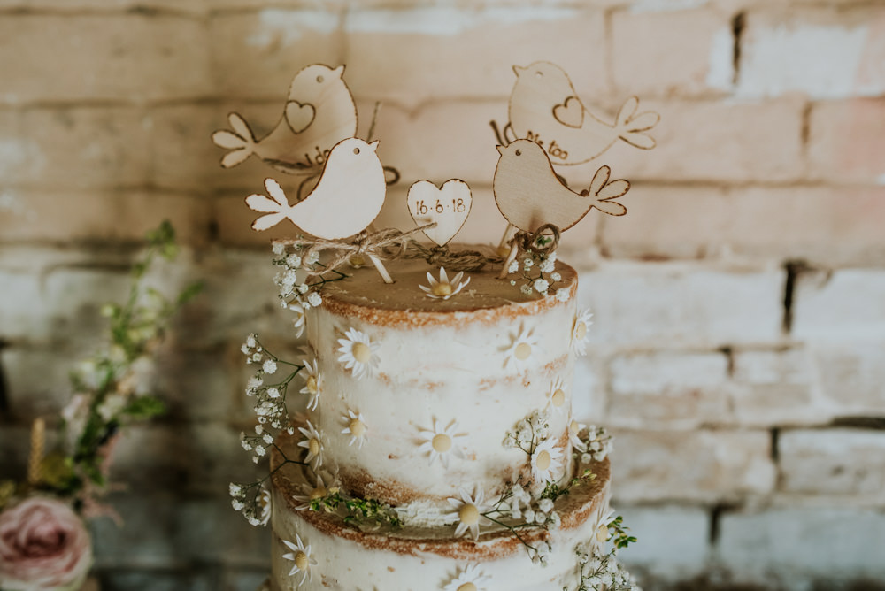 Buttercream Cake Daisy Wooden Bird Cake Topper Edwardian Inspired Wedding Daniel Ackerley Photography