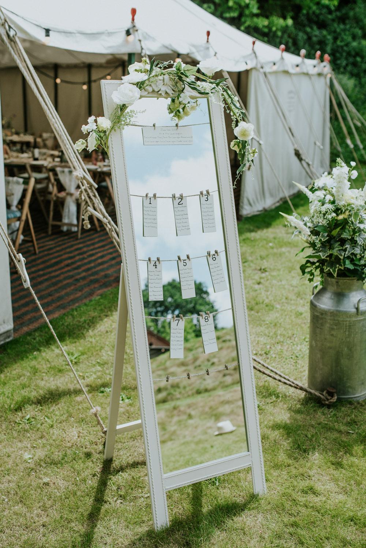 Mirror Table Plan Artificial Flowers Seating Chart Milk Churn Edwardian Inspired Wedding Daniel Ackerley Photography