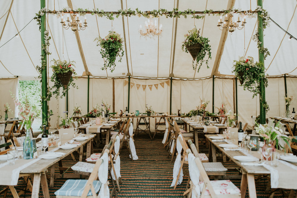 Marquee Hanging Plants Greenery Floral Lace Chair Backs Edwardian Inspired Wedding Daniel Ackerley Photography