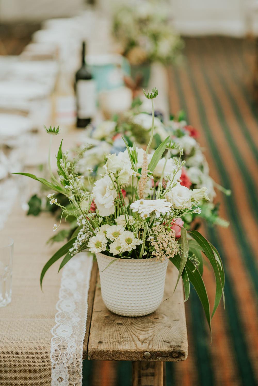 Table Centre Wildflower Meadow Flowers Pot Edwardian Inspired Wedding Daniel Ackerley Photography