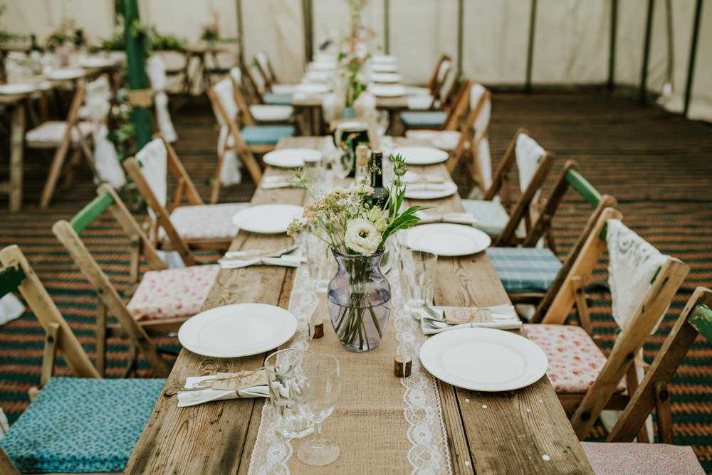 Marquee Table Hessian Lace Table Runner Wildflower Edwardian Inspired Wedding Daniel Ackerley Photography