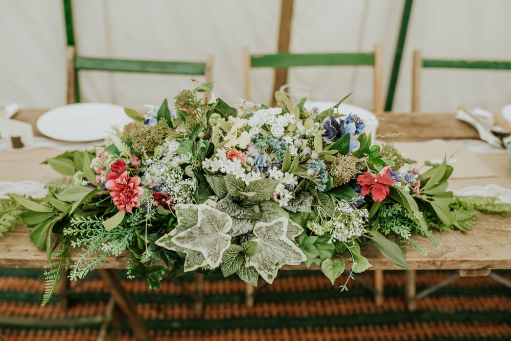 Top Table Floral Garland Ivy Meadow Wildflowers Edwardian Inspired Wedding Daniel Ackerley Photography