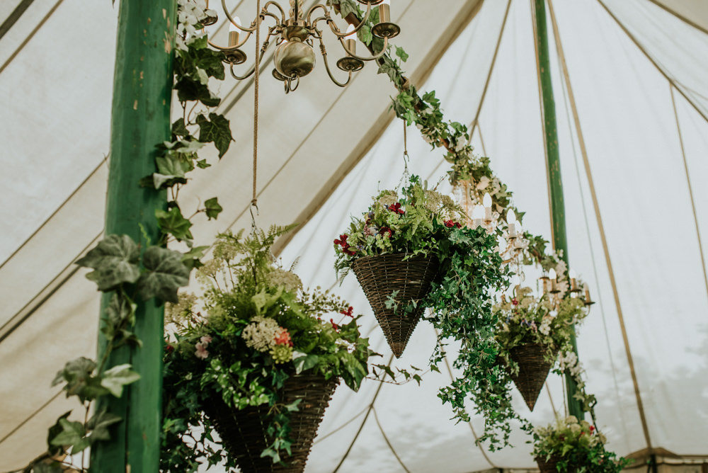 Marquee Hanging Baskets Ivy Wildflowers Edwardian Inspired Wedding Daniel Ackerley Photography