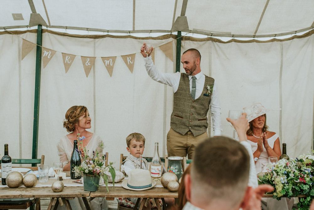 Bride Bridal Vintage Dress V Neck Sleeves Layered Waistcoat Tweed Groom Chinos Mr & Mrs Hessian Bunting Edwardian Inspired Wedding Daniel Ackerley Photography