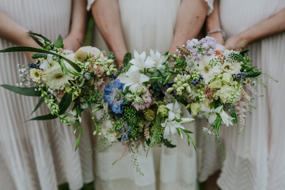 Bride Bridesmaids Bridal Meadow Wildflower Bouquets Edwardian Inspired Wedding Daniel Ackerley Photography