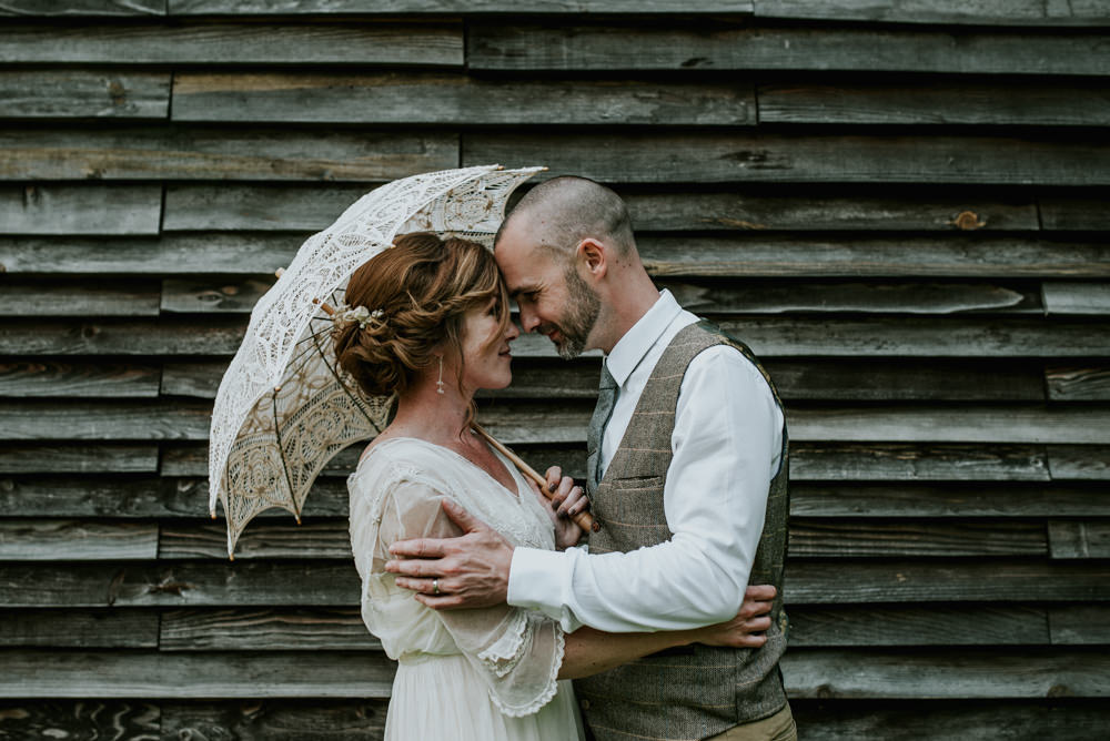 Bride Bridal Vintage Dress V Neck Sleeves Layered Waistcoat Tweed Groom Chinos Lace Parasol Edwardian Inspired Wedding Daniel Ackerley Photography