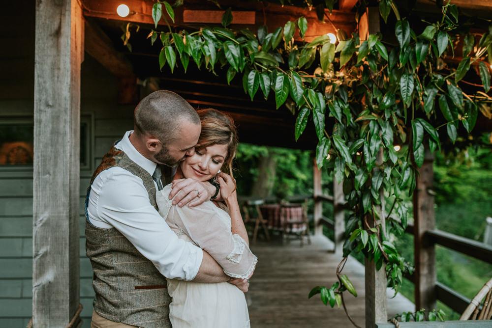 Bride Bridal Vintage Dress V Neck Sleeves Layered Waistcoat Tweed Groom Chinos Edwardian Inspired Wedding Daniel Ackerley Photography