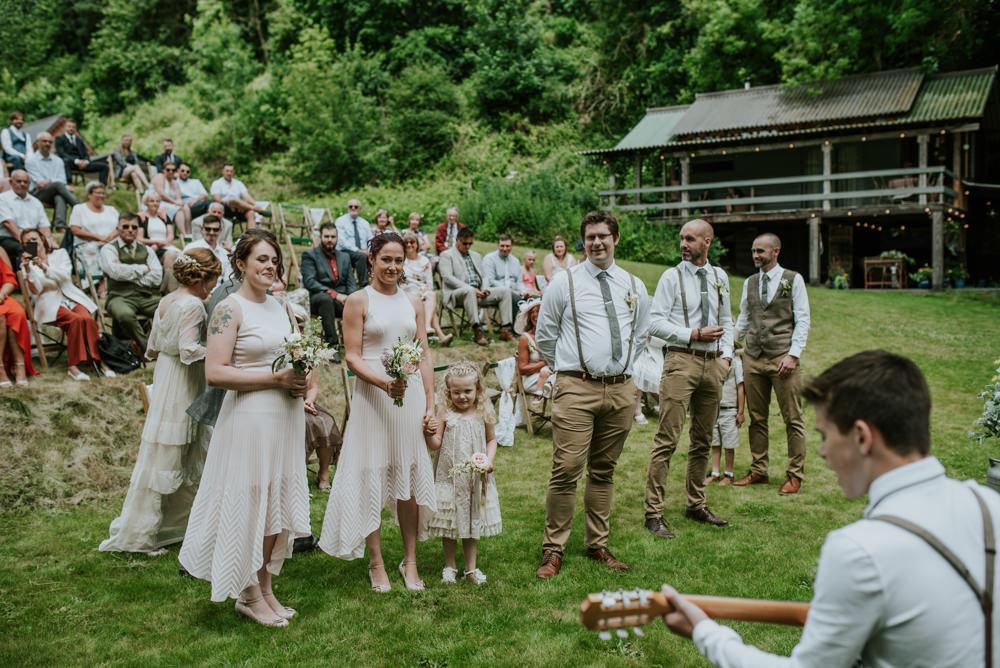 High Low Hem Bridesmaids Chino Braces Waistcoat Outdoor Ceremony Edwardian Inspired Wedding Daniel Ackerley Photography