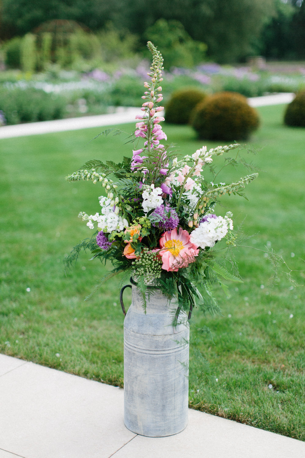 Milk Churn Flowers Floral Foxglove Stocks Garden Ceremony Wedding Melissa Beattie Photography
