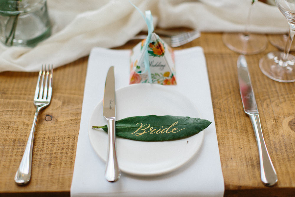 Gold Calligraphy Leaf Place Card Pyramid Favour Garden Ceremony Wedding Melissa Beattie Photography