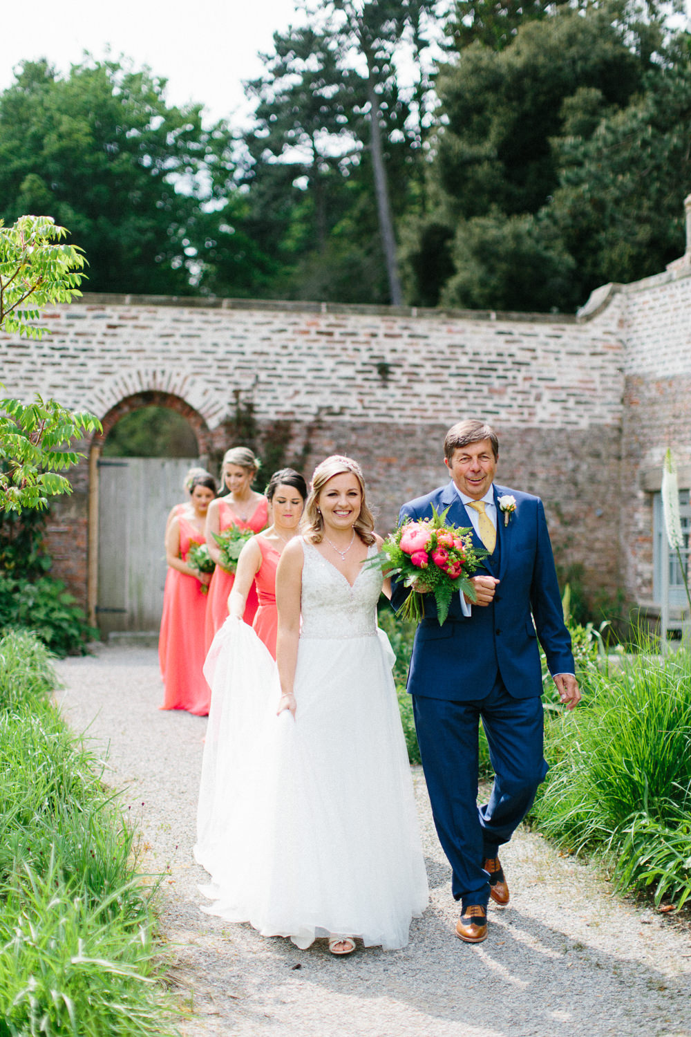 Bride Bridal Dress Sleeveless A Line Beaded Embellished V Neck Tiara Blue Suit Waistcoat Veil Coral Bridesmaids Garden Ceremony Wedding Melissa Beattie Photography