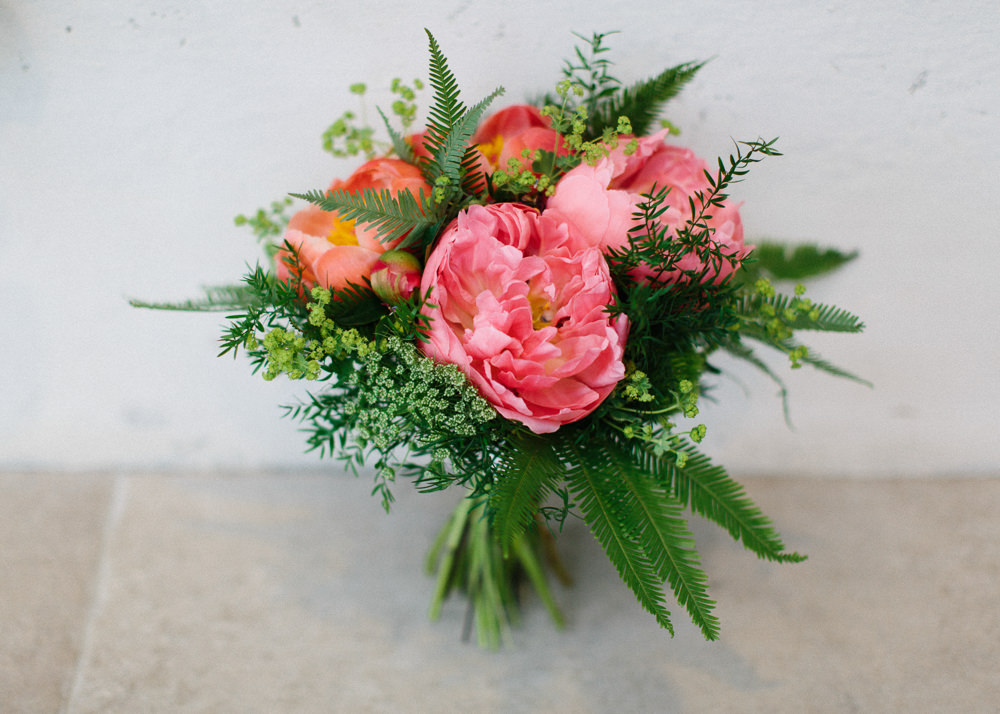 Peony Fern Flower Bouquet Garden Ceremony Wedding Melissa Beattie Photography