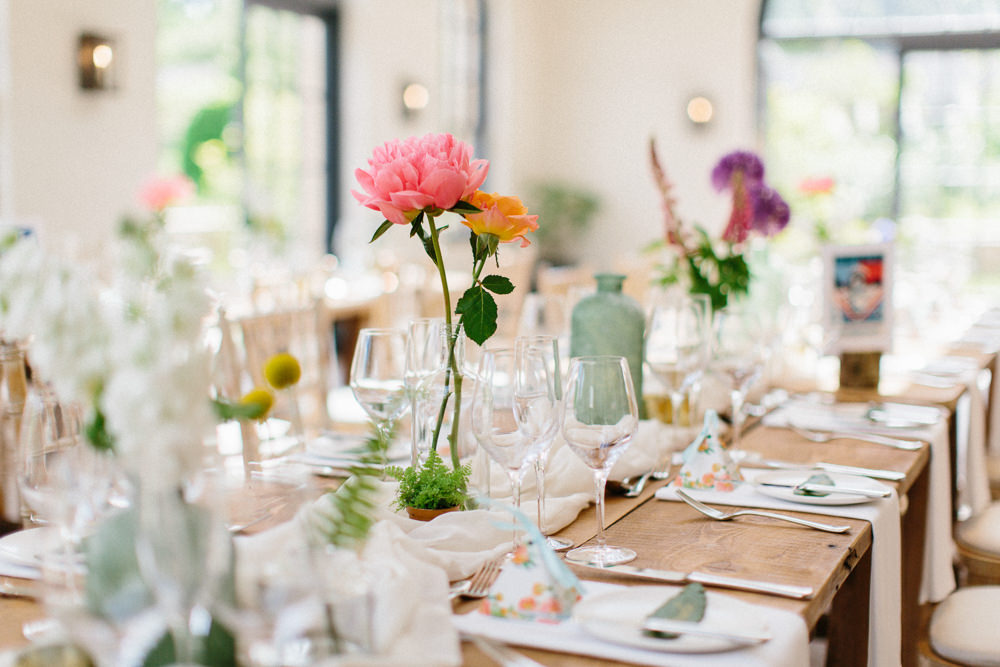 Table Centre Florals Flowers Peony Bottle Garden Ceremony Wedding Melissa Beattie Photography