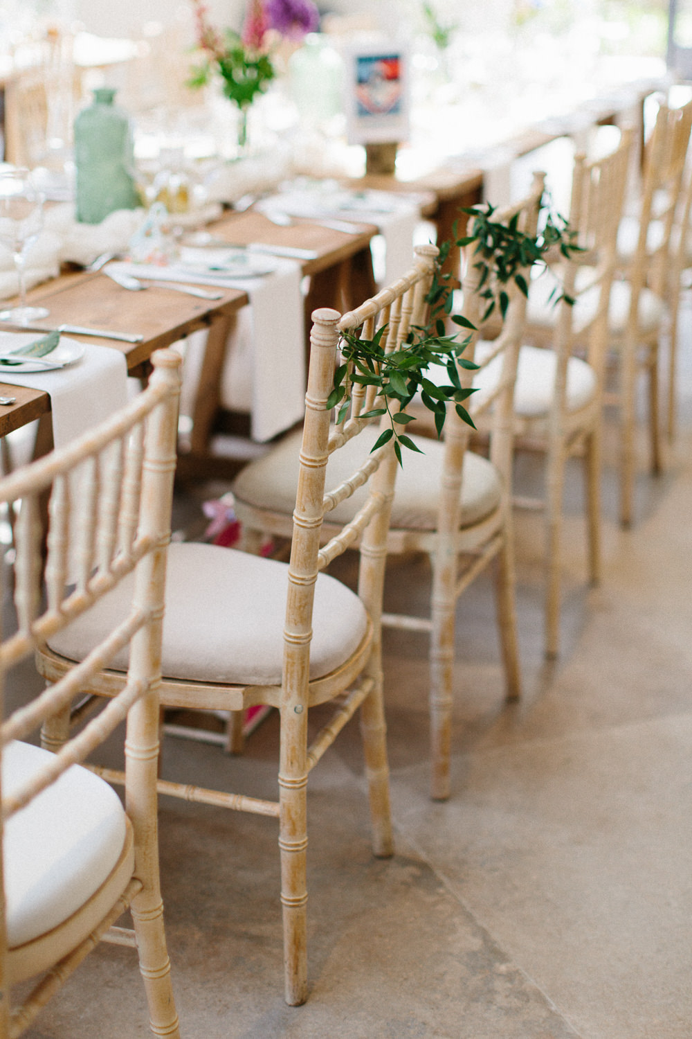 Greenery Foliage Chair Back Garden Ceremony Wedding Melissa Beattie Photography