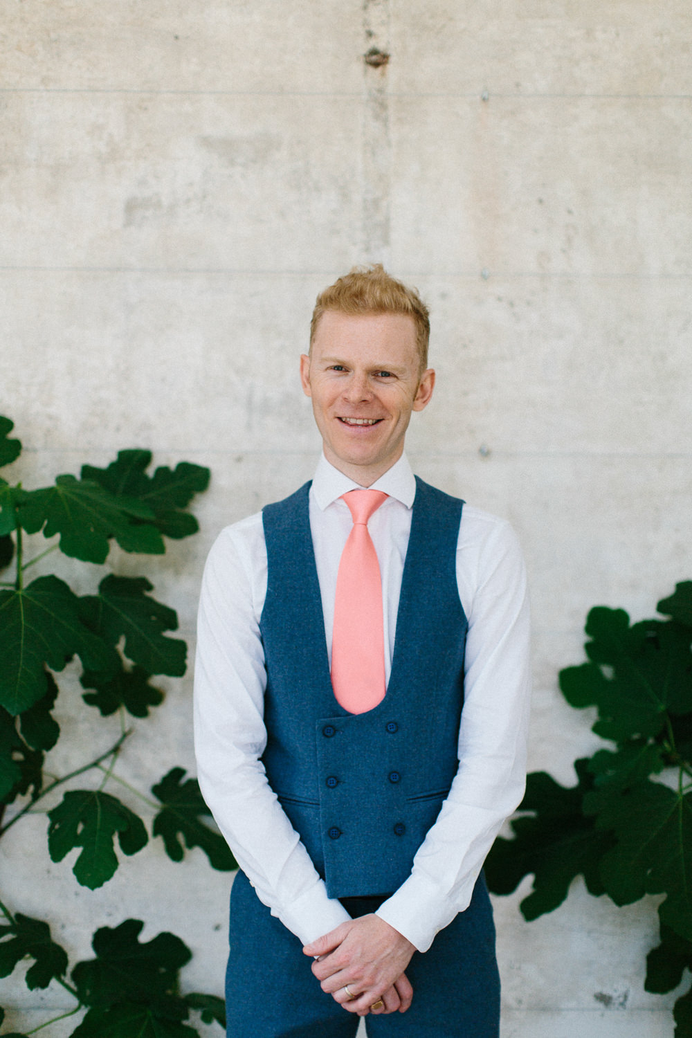 Groom Bib Waistcoat Coral Tie Blue Suit Garden Ceremony Wedding Melissa Beattie Photography