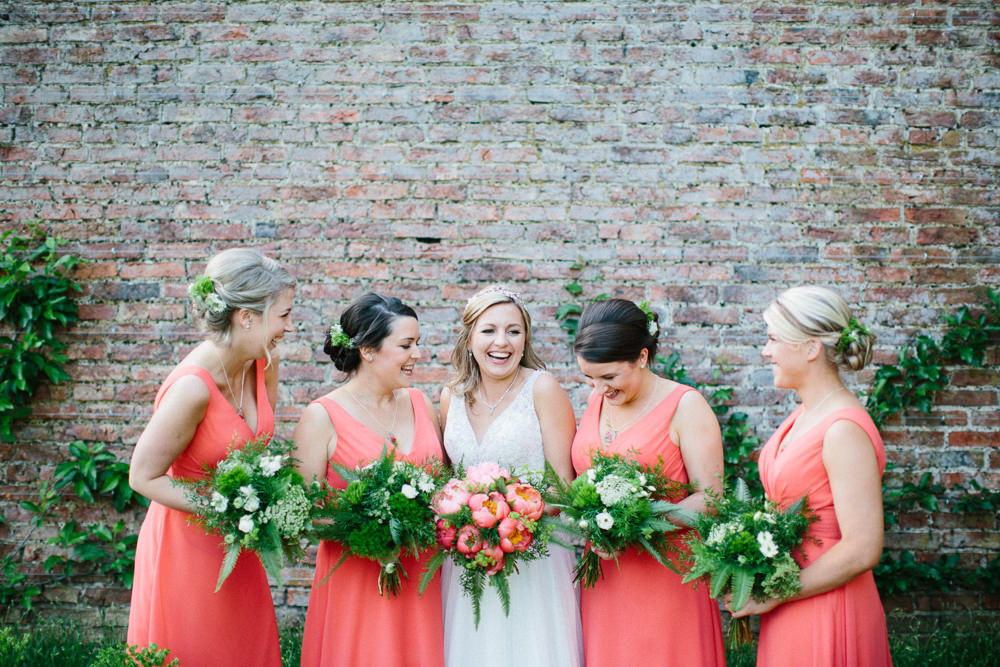 Bride Bridal Dress Sleeveless A Line Beaded Embellished V Neck Tiara Coral Bridesmaids Greenery Veil Garden Ceremony Wedding Melissa Beattie Photography