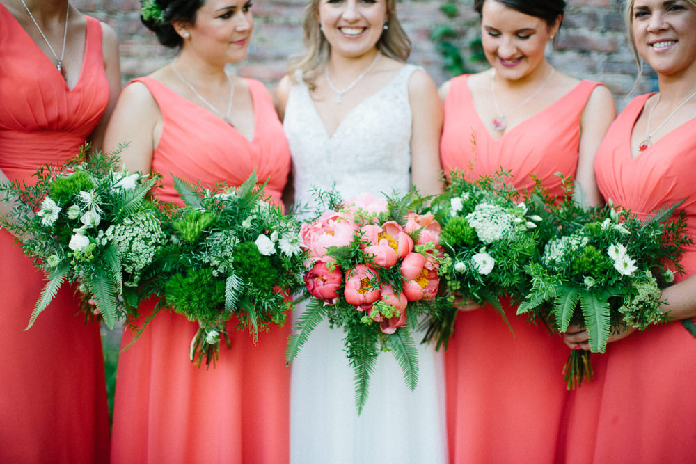 Bridesmaids Coral Greenery Fern Bouquet Peony Garden Ceremony Wedding Melissa Beattie Photography