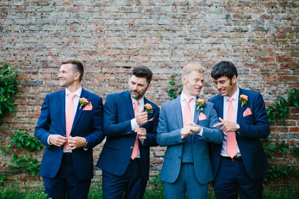 Blue Suit Groom Groomsmen Coral Tie Garden Ceremony Wedding Melissa Beattie Photography