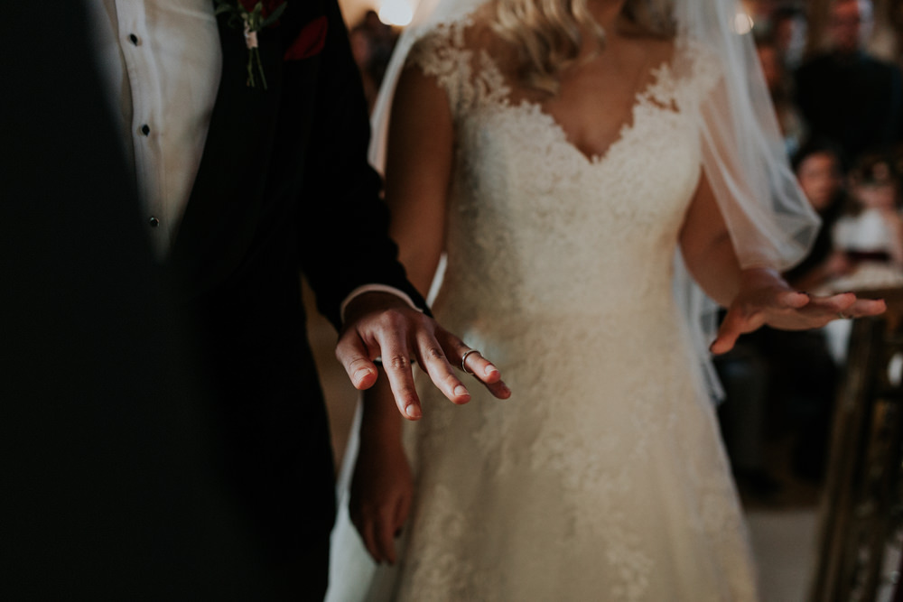 Bride Bridal Cap Sleeve Lace Overlay Dress Gown Veil Velvet Tuxedo Burgundy Bow Tie Groom Gaynes Park Wedding Kate Gray Photography