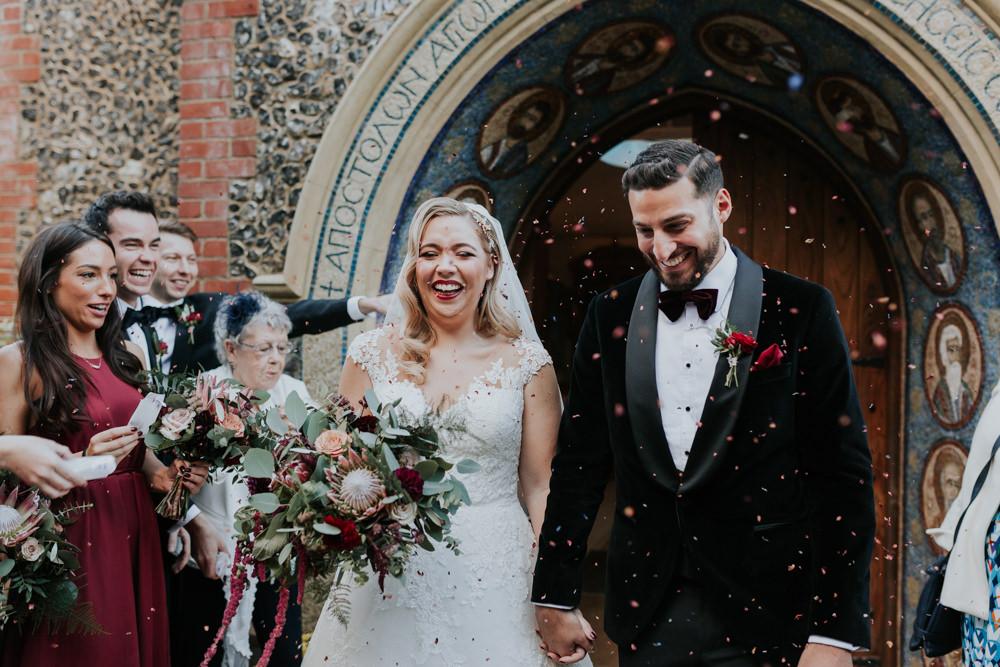 Bride Bridal Cap Sleeve Lace Overlay Dress Gown Veil Velvet Tuxedo Burgundy Bow Tie Groom Eucalyptus Dahlia Bouquet Confetti Gaynes Park Wedding Kate Gray Photography