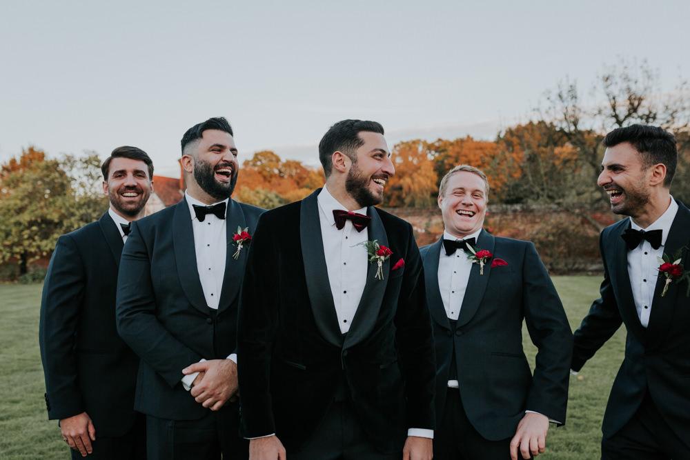Velvet Tuxedo Burgundy Bow Tie Groom Gaynes Park Wedding Kate Gray Photography