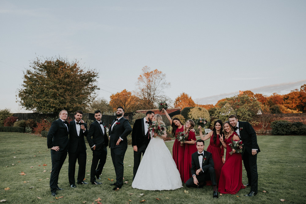 Bride Bridal Cap Sleeve Lace Overlay Dress Gown Veil Velvet Tuxedo Burgundy Bow Tie Groom Bridesmaids Silly Pose Gaynes Park Wedding Kate Gray Photography
