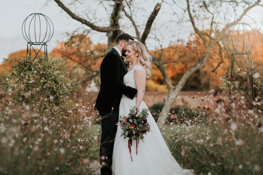 Bride Bridal Cap Sleeve Lace Overlay Dress Gown Velvet Tuxedo Burgundy Bow Tie Groom Gaynes Park Wedding Kate Gray Photography