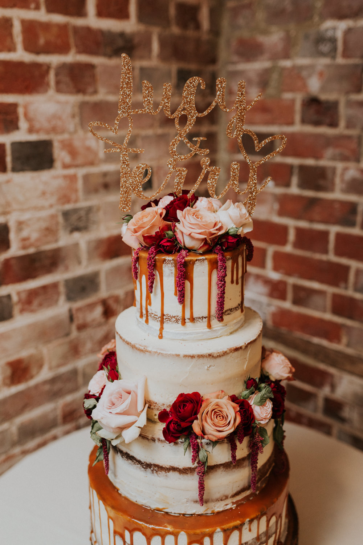 Buttercream Cake Drip Sparkling Laser Cut Topper Semi Naked Gaynes Park Wedding Kate Gray Photography
