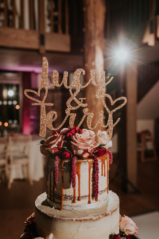 Semi Naked Buttercream Drip Cake Laser Cut Sparkly Topper Gaynes Park Wedding Kate Gray Photography