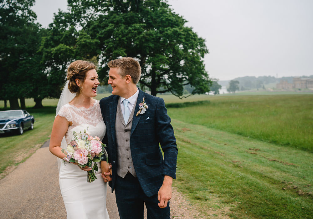 Groom Suit Navy Tweed Waistcoat Holkham Hall Wedding Luis Holden Photography