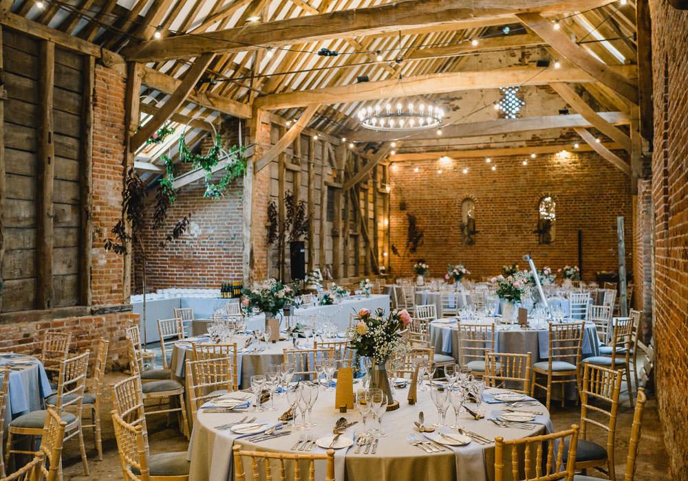 Barn Reception Room Venue Decor Holkham Hall Wedding Luis Holden Photography