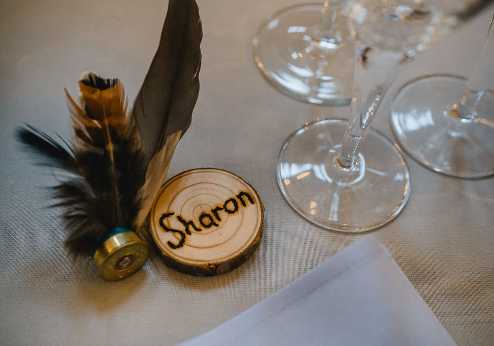 Log Slice Place Name Setting Feathers Holkham Hall Wedding Luis Holden Photography