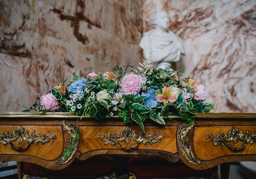Ceremony Table Flower Arrangement Pink Blue Peony Peonies Holkham Hall Wedding Luis Holden Photography