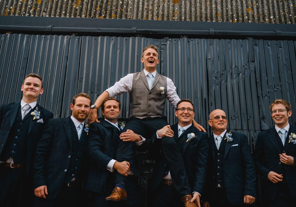 Groom Suit Navy Tweed Waistcoat Groomsmen Holkham Hall Wedding Luis Holden Photography