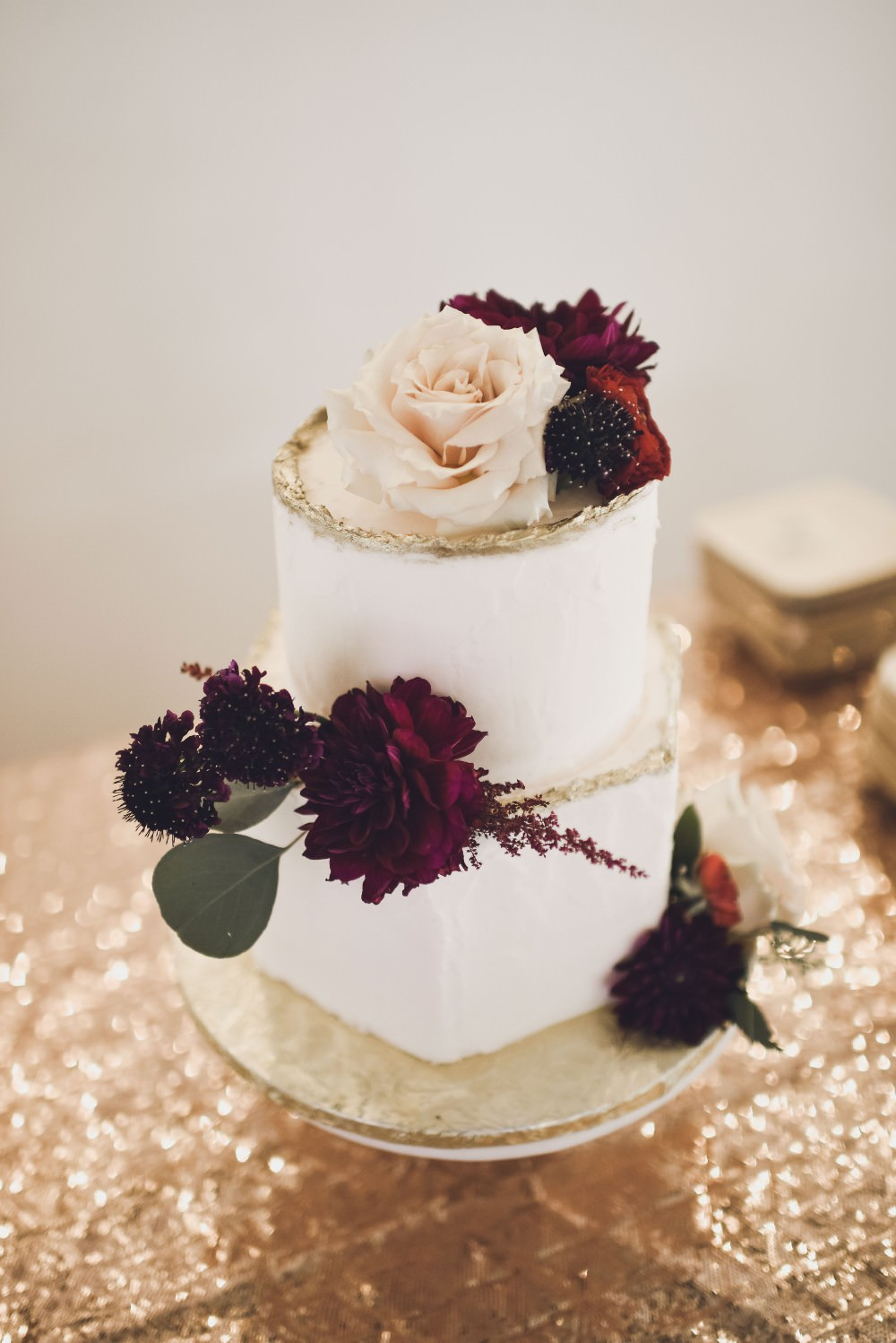 Floral Cake Flowers Gold Kindred Barn Wedding The Kindred Collective
