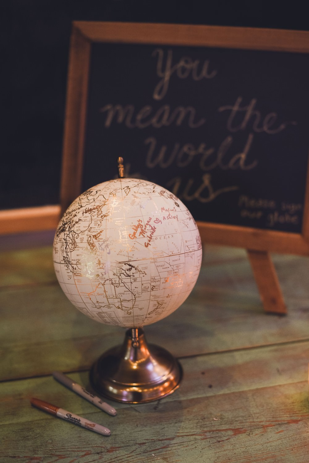 Globe Travel Guest Book Sign Kindred Barn Wedding The Kindred Collective