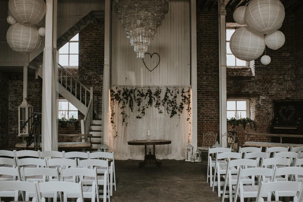 Ceremony Room Decor Aisle Millhouse Wedding Louise Scott Photography