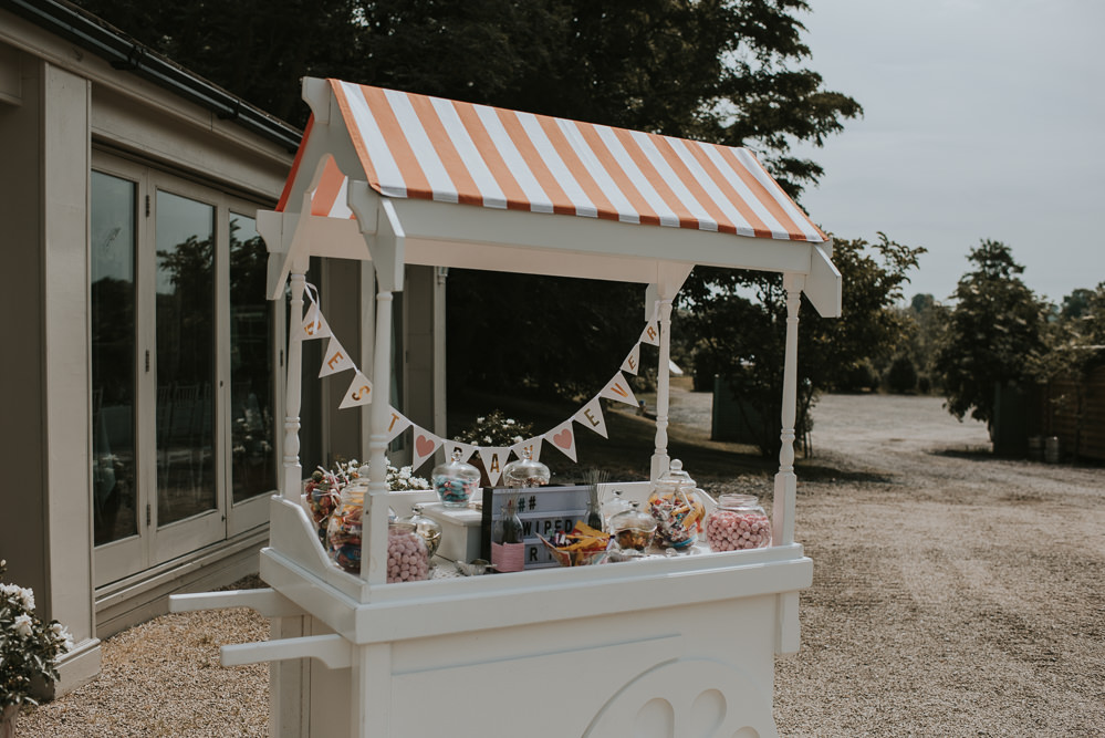 Sweets Sweetie Table Cart Millhouse Wedding Louise Scott Photography