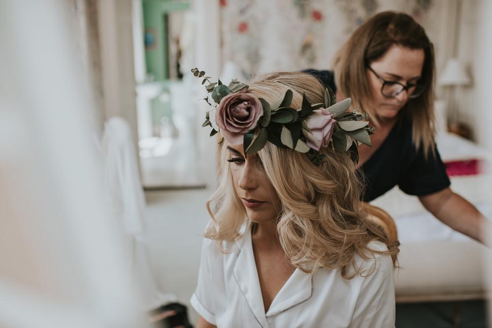 Bride Bridal Hair Curls Waves Flower Crown Millhouse Wedding Louise Scott Photography