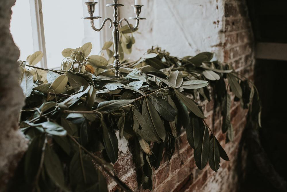Greenery Foliage Decor Ceremony Millhouse Wedding Louise Scott Photography