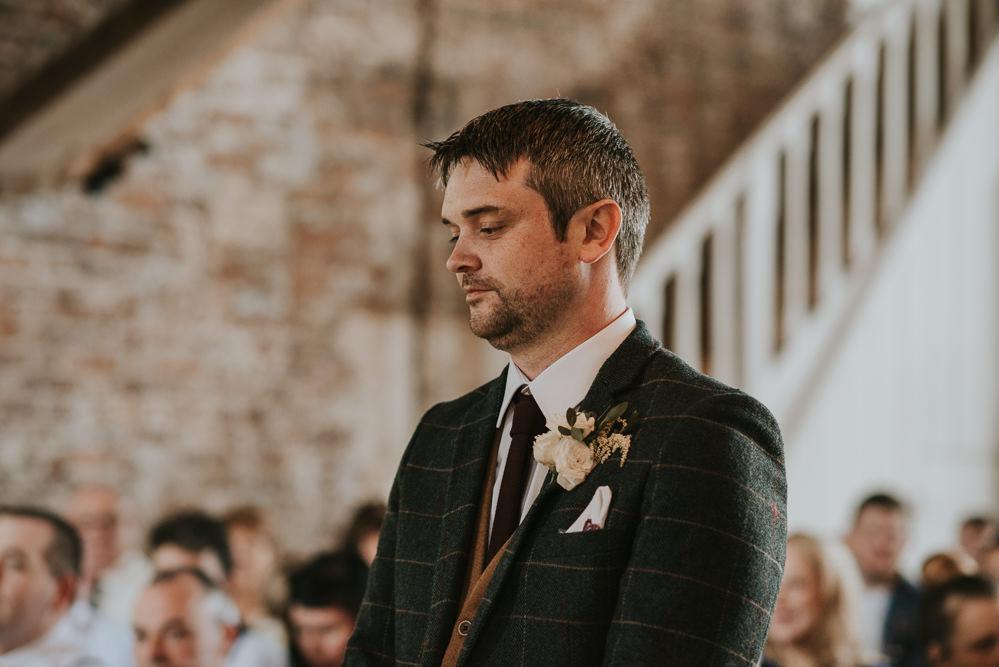 Groom Suit Check Waistcoat Tie Millhouse Wedding Louise Scott Photography