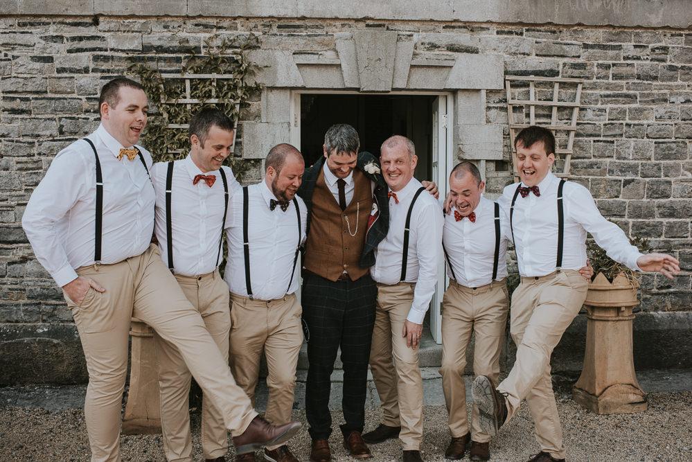 Groomsmen Braces Bowties Chinos Style Attire Outfits Groom Millhouse Wedding Louise Scott Photography