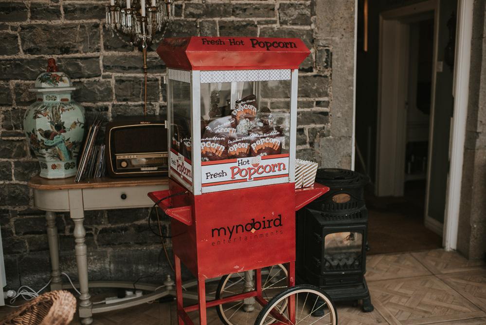 Popcorn Cart Stand Station Millhouse Wedding Louise Scott Photography